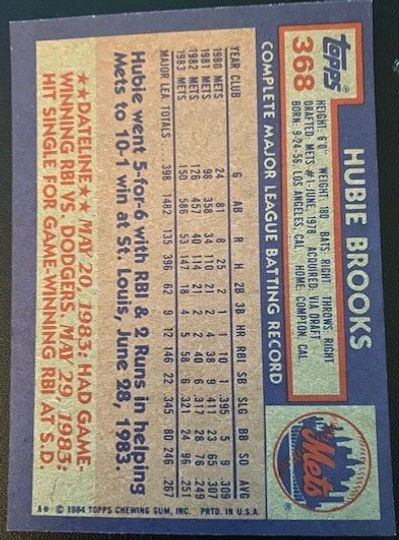 1984 Topps Mets Hubie Brooks 368 Item Image