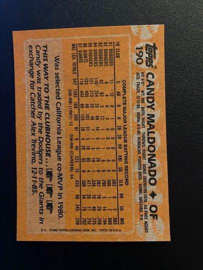 1988 Topps Giants Candy Maldonado 190 Item Image
